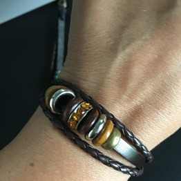 Armband i läder & stål med färg - Armand BRUN