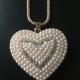 Hängen i roséfärgat stål - Stort hänge hjärta