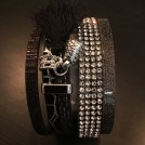 Armband, brett i läder med bling