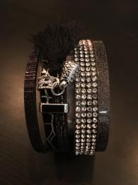 Armband, brett i läder med bling - Svart brett läderarmband