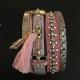 Armband i läder m vackra detaljer - Armband brett rosa