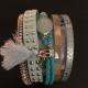 Armband i läder m vackra detaljer - Armband brett turkos blå