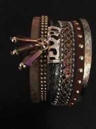 Brett läderarmband i flera färger - Brett armband brunt