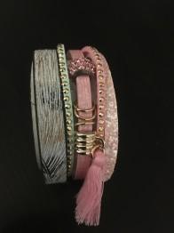 Armband rosa & grå - Armband rosa och grå