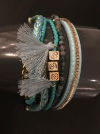 Armband i tyg och läder turkos - Armband turkos