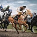 Andreas Englund, Horse Race (olja på canvas, 215x116 cm)