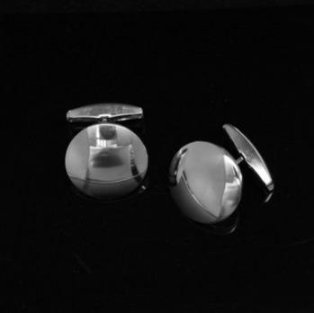 Manschettknapp Rund Välvd 18 mm 925