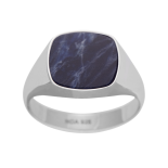 SON - rhd. silver ring with sodalite