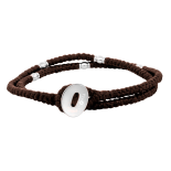 SON - Bracelet brown cord with steel 37cm