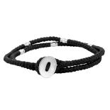 SON - Bracelet black cord with steel 37cm