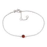 Nordahl - Sweets röd onyx 4,5mm armband silver