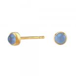 Nordahl - Sweets blå chalcedon 4,5mm örhänge guld