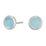 Nordahl - Sweets blå chalcedon 7mm örhänge silver