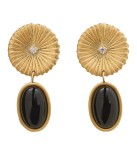 Crinkle Onyx Earrings Matt Gold