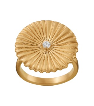 Crinkle Ring Matt Gold -