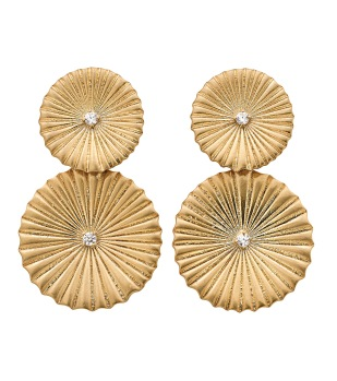 Crinkle Earrings Matt Gold -