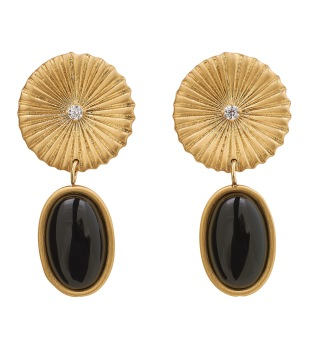 Crinkle Onyx Earrings Matt Gold -
