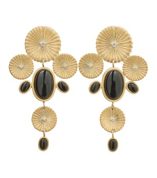 CRINKLE ONYX MAXI EARRINGS MATT GOLD -