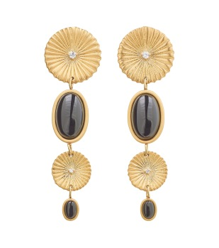 Crinkle Onyx Multi Earrings Matt Gold -