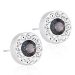 Blomdahl - BRILLIANCE HALO CRYSTAL/BLACK DIAMOND, 8 MM