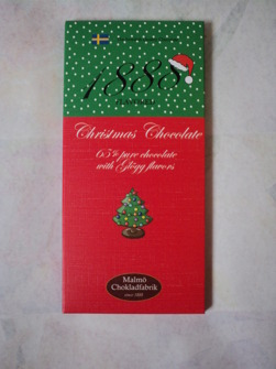 Julchoklad från Malmö Chokladfabrik pris 45 kr.