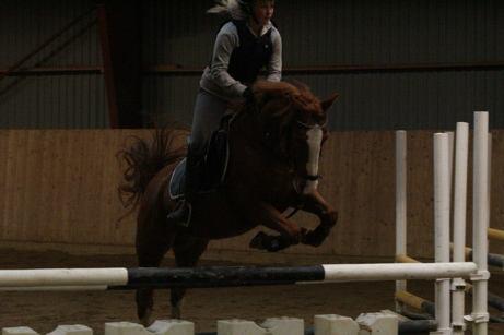 Amanda och Sherikan hoppar  på träning.