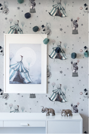 Circus Mighetto Wallpaper - Circus Mighetto Wallpaper Blue Grey