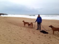 på stranden med 3 RR