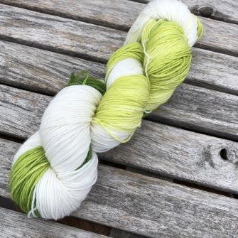 Grön/vit sockgarn - grön/vit sock