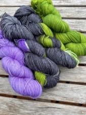 lila/grön/svart sockpaket