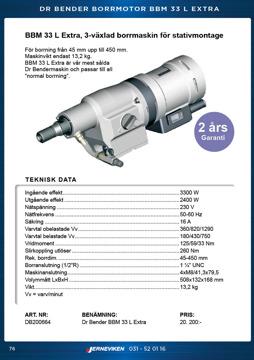 Kärnborrmaskin Dr Bender BBM33L Extra