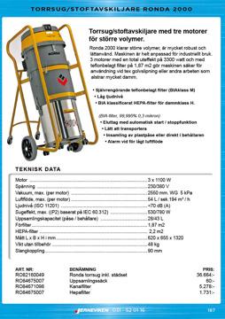 Ronda 2000 - Torrsug / Stoftavskiljare för större volymer