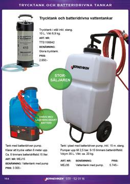 Trycktankar och batteridrivna vattentankar