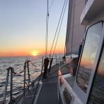 En tidig morgon när vi går norröver mot Balearerna.