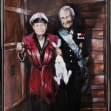 Hugh Hefner & Carl Gustav. Playboy Rabbit 92x73cm