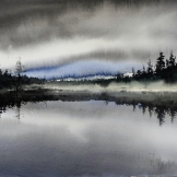 Dimma på sjö. 56x43cm