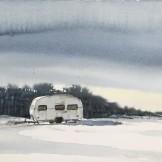 Husvagn i snö 45x35cm