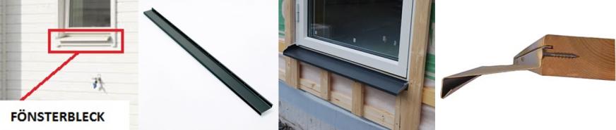 Underblecket monteras i fönsterkarmarnas utfrästa spår, med uppgift att förhindra vatten och snö att tränga in bakom tröskel/fasadmaterial.