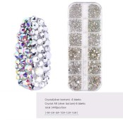 Nail art crystals Silver / multi color