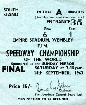 Idrottsmemorabilia - en biljett till VM-finalen 1963