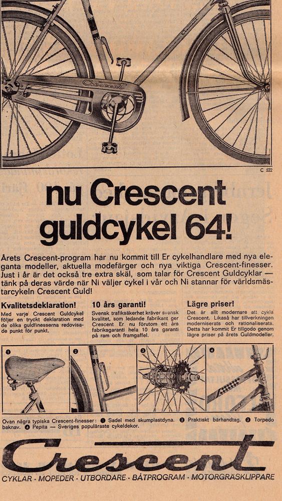 Våren hör cyklingen till. Så här såg 1964-års modell ut.
