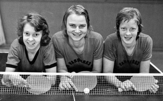 Varbergs Bordtennisklubbs eminenta lag som tog sju raka svenska mästerskap, från vänster Birgitta Olsson, Ann-Christin Hellman och Eva Strömvall
