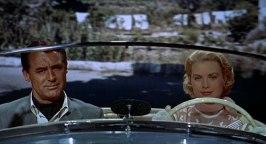 Cary Grant och Grace Kelly under en bilfärd