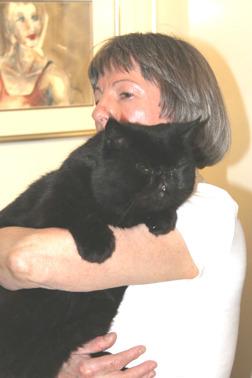 Min fru Marta och vår katt Mosen
