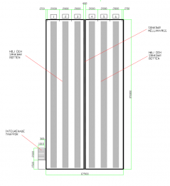 Mellanväggar kan placeras - lite hur som helst - i en simbassäng. Här ett exempel på en längsgående vägg som avdelar 25 metersbassängen på längden och medger tex. Höj- och sänkbart golv till vänster och vanlig botten till höger. På så sätt kan man komibinera träning och undervisning i samma bassäng. Fantasin är det som sätter gränserna! Klicka gärna på bilden för att se den tydligare!