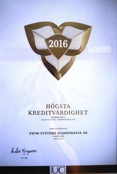 När UC - Upplysningscentralen klassificerade svenska företags ekonomiska status i december fick Swim Systems Scandinavia AB - ratingen Kreditklass 5 - dvs högsta kreditvärdighet.