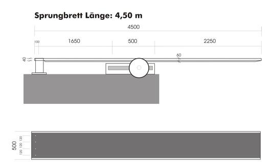 Skiss för montage av sviktbräda 4500 mm med fast bakdel och rörlig framdel. (klicka på bilden så blir den större)
