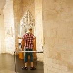 Under kyrkan var det utställning av hur kyrkan sett ut under åren.