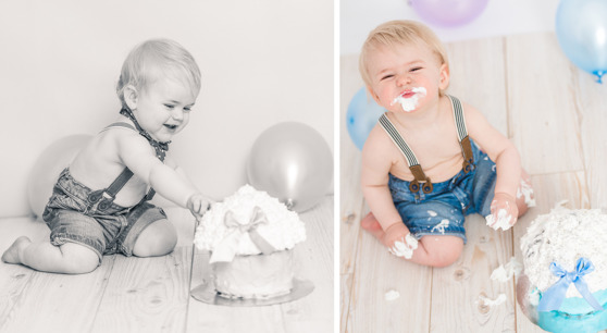 1 års fotografering smash the cake