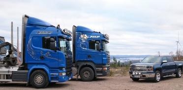 Jerkers Grot Skogstransporter AB kör med CGI programmet Tass för att optimera trasporter och snabbt hitta till olika uppläggningsplatser av timmer.